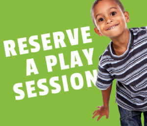 """Image of a young boy moving his body on a green background with the words """"Reserve a play session"""""""