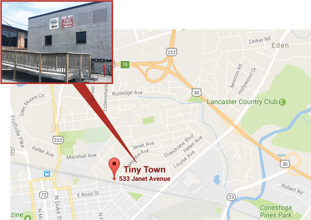 Map of Tiny Town's location: 533 Janet Ave. in Lancaster, PA
