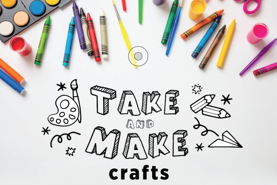 Take and Make Crafts logo on top of a pile of scattered art supplies